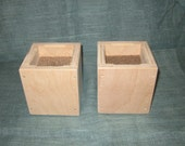 Furniture Risers, 4 Inch All Wood Construction, Unfinished Square Design - Raise Furniture, Create Storage Space, Bed Table Desk +