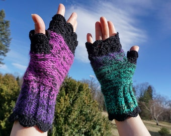 Fingerless knitted and crochet 100% kashmir wool mittens, gloves in pink, green and violet with a shell edge