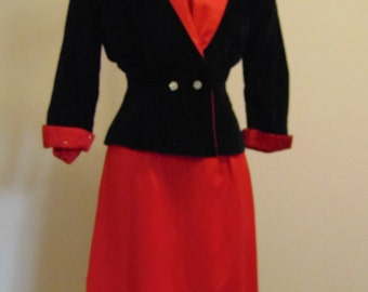 Vintage 1940s Red Satin Dress. Matching Nip Waist Jacket in Black Velvet. Small