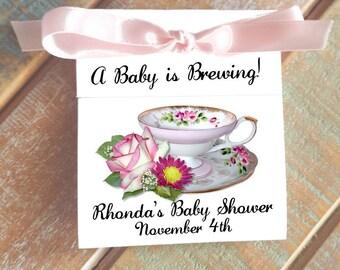 Pretty Pink Roses Teacup Tea Bag Bridal Shower Wedding Party Favors CIJ