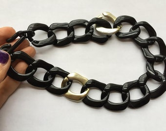 Vintage Plastic Chunky Flat Chain Link Necklace, Black and Silver Bold Statement Necklace