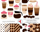 Coffee Clipart & Digital Paper Set - clip art set of coffee cups, beans, espresso - personal use, small commercial use, instant download