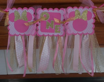 Pink and Gold Glitter High Chair Banner, I AM 1 Banner, Minnie Mouse Pink Gold Tutu Glitter Banner, Minnie Ribbon High Chair banner