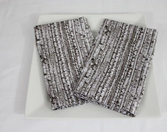 Rustic White Birch Bark Cloth Napkins - Double Sided, Thick and Large - set of 2