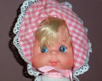 """Vintage 1974 Mattel 8"""" baby  beans  doll  stuffed Nutshell body w/ bonnet & diaper"""