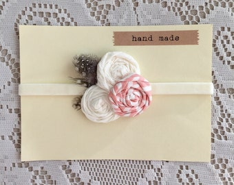 Pink and off white rosette baby headband