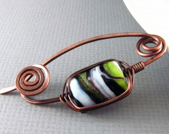 Shawl Pin Copper Wire Wrapped Jewelry Green Copper Brooch Scarf or Sweater Pin Lampwork Glass