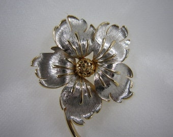 PASTELLI Large Floral Silver & Gold Tone brooch