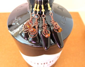Eco Friendly Upcycled Hendrick's Gin Bottle Earrings Dark Brown Repurposed Recycled