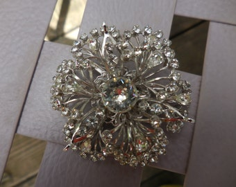 Vintage Silver Tone Pronged Rhinestones Pin/Brooch Large Round 1970s to 1990s Sparkly
