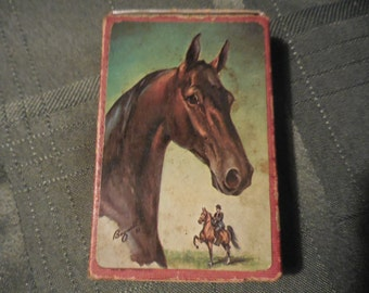 Vintage 1960s Whitman Bogucki Playing Cards Horse Head With Jockey Full Set Equestrian