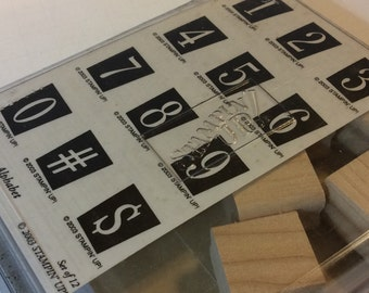 Stampin up retro alphabet numbers Rubber Stamp Set NEVER USED!!