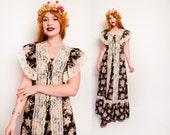 Vintage 1970s Dress - Black Floral Cotton Lace Boho Maxi Gown 70s - Medium