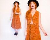 Vintage 1970s Patchwork Set - Brown Leather Suede Skirt & Vest Ensemble 70s - Medium