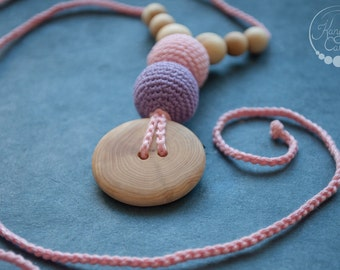 The Best Babywearing Nursing Necklace / Necklace for Mom to Wear / Breastfeeding Jewelry - Baby Pink & Purple in Juniper Wood