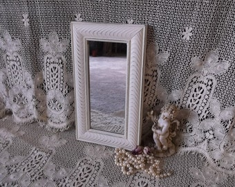 Small Rectangle mirror, creamy white, shabby white, wall mirror, painted mirror