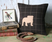 Bulldog Silhouette Pillow Cover - Brown Wool, 12 Inch, Accent Pillow, Throw Pillow
