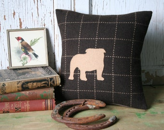 Bulldog Pillow Cover - Silhouette, Recycled Brown Wool, 12 Inch - FREE SHIPPING