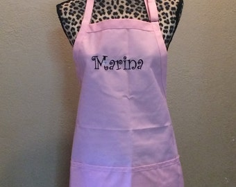 Womens Kitchen Chef Apron Personalized Free Fancy Font