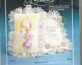 "80s Precious Moments ""Jesus Loves Me"" 2 Sachet Kits by Paragon Needlework Unopened Embroidery Sachet Kits"