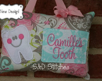 Tooth Fairy Pillow for Girls Personalized Boutique Custom Made - Flower girl gift- Christmas Gift - Birthday Gift - Baby Gift - Easter