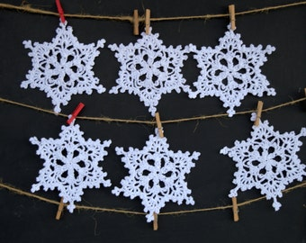 20% OFF Snowflakes. Crochet ornaments. Christmas decoration. White Snowflakes. Set of 6 snowflakes. Snowflake ornament