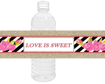 Black, White, Pink water bottle label, Pink Roses,, Black and White water bottle labels. Gold, Black & White labels.