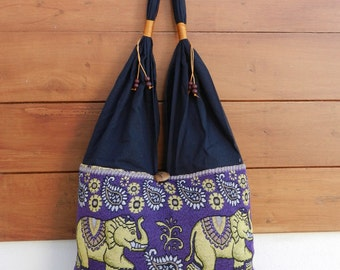 Thai Cotton Shoulder Bag Elephant Parade Purse Handbags Pailsy Purple Hippie Hobo (sriB)