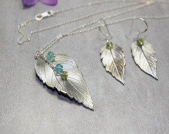 Botanical Jewelry Real Leaf Jewelry Set Fine Silver Apatite and Peridot Jewelry Nature Jewelry Fine Silver Pendant.