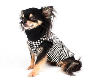 Dog Coat Lined Houndstooth turtle neck Dog Jacket in black and white