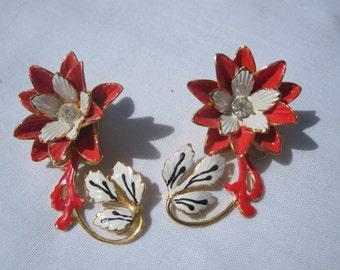 Red and White Flower Ear Climber Clip Earrings