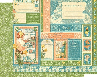 """Graphic 45's """"Children's Hour"""" Both April 12x12 Pages  ** See Discounted Shipping Note**"""
