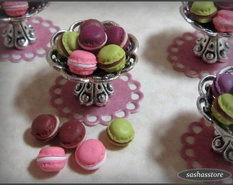12th scale dollhouse macaroons, miniature macarons, dollhouse miniature food