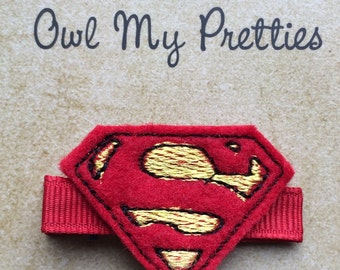 Superman Red Yellow Felt Hair Clip Babies Toddlers Girls