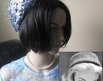 Blue 1960 Vintage Pillbox Hat, Allure Celebrity Style, 1960s Hat, Vintage Blue Straw weave hat, Excellent Condition, Blue Pillbox, Pillbox