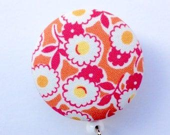 Flower Badge Reel - Name Badge - Orange and Pink - Badge Holder - Retractable Badge - Nurse Gift - Teacher Gift - Fabric Badge Reel