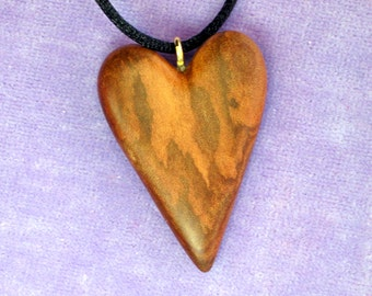 Figured Myrtle Heart Wood Carving Pendant Necklace Ornament Hand Carved Valentine's Day Gift for Mother Sculpture Hanging Decor Romantic
