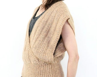 Christian Dior Sweater Vest, Marled Neutral 80s New Wave Minimalist Slouchy Designer Knit, Tan Deep V Neck Cinched Waist Hipster Waistcoat