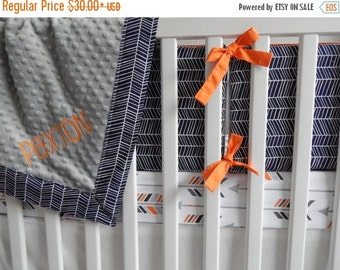 Spooktacular SALE 10% OFF Design Your Own - Orange, Navy and Grey Arrows -  changing pad cover, rail covers, boppy covers, crib sheet, crib