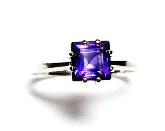"Amethyst ring, princess solitaire, purple princess ring, purple jewelry, birthstone ring, purple, s 6 1/2  ""Plum Purple"""