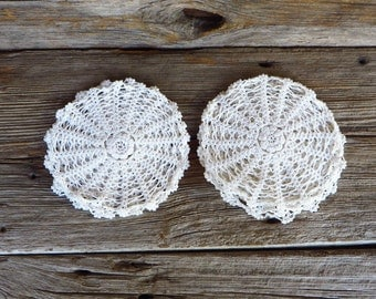 9 Hand Crocheted White Doilies Hand Crafted Doilys Cottage Chic 1940s Home Decor
