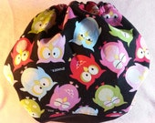 SassyCloth one size pocket diaper with sleepy owls cotton print. Ready to ship.