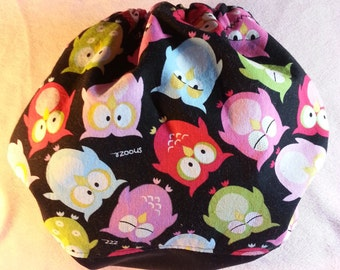 SassyCloth one size pocket diaper with sleepy owls cotton print. Ready to ship.