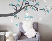 Baby Nursery Decor : Branch Tree, Owls and Custom Name - Nursery Wall Decal