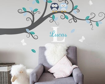 Baby Nursery Decor : Branch Tree, Owls and Custom Name - Nursery Wall Decal