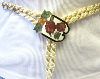 Cloisonne Buckle Belt Gold And White