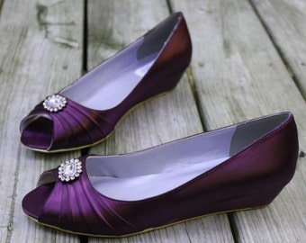 Purple Wedding Shoes Wedge Low heel -- 1 inch wedge shoes- Size 10 Ready to ship