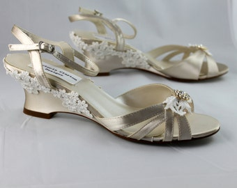 Champagne Wedding wedge -- Low wedge heels Size 9 Sale