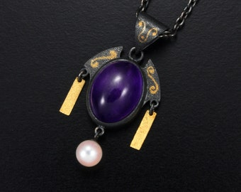 Amethyst cab and gold inlay silver pendant necklace Japan design