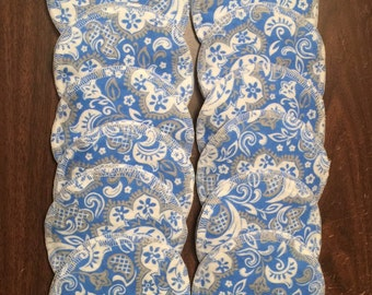 Nursing pads/Facial Wipes 12 sets (24 total) made with 4 layers of 100% cottlon flannel Grey, Blue and White paisley